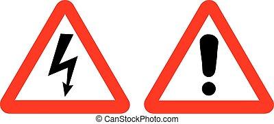 élevé, vecteur, avertissement, tension, signs.