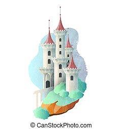 élevé, vecteur, fée, château, conte, illustration, magie, towers.