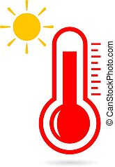 élevé, vecteur, température, icône