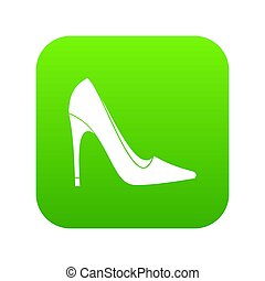 élevé, vert, chaussure, numérique, talon, icône