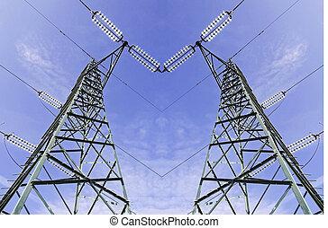 élevé, vert, tension, au-dessus, pylône, vue