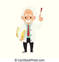 élevé, vieux, stands, haut, style, main, scientifique, doigt, dossier, mâle, dessin animé