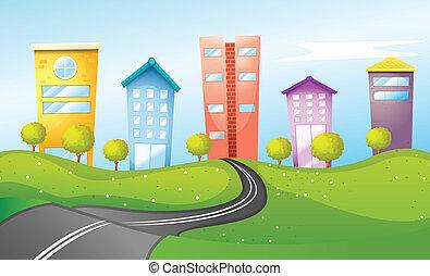 élevé, ville, bâtiments