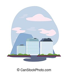 élevé, ville, bâtiments, scène, urbain