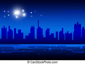 élevé, ville, technologie