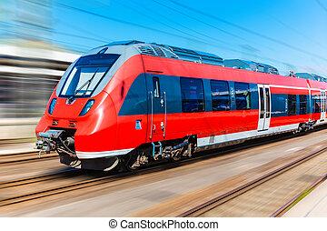 élevé, vitesse,  train, moderne