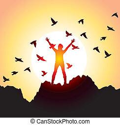 élevé, voler, oiseaux, girl, mains