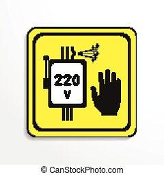 élevé, voltage., signe., danger