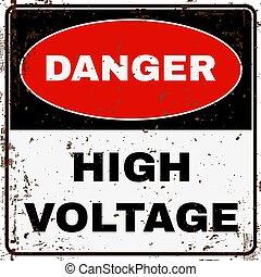 élevé, voltage., signe., vecteur, danger