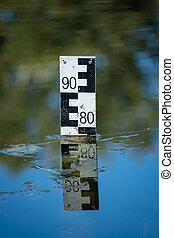 élevé, watermark, mesure, niveau