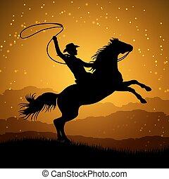 élevage, cheval, lasso, silhouette, cow-boy