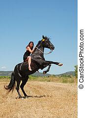 élevage, girl, cheval