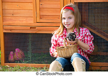 éleveur, poules, gosse, girl, propriétaire ranch, blonds,...