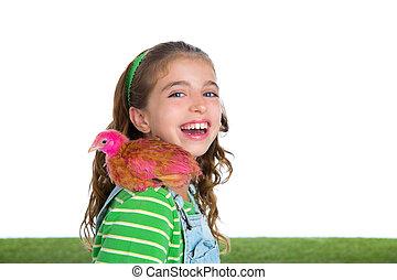 éleveur, poules, gosse, girl, propriétaire ranch, paysan, à, poulet, poussins
