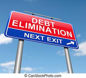 élimination, concept., dette