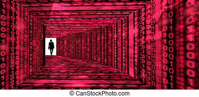 élite, entra, textura, pasillo, información, pirata informático, digital, rojo