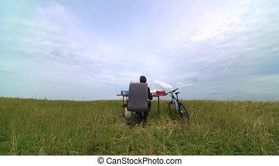 éloigné, bureau fonctionnant, virtuel, homme affaires
