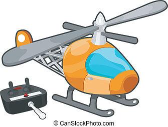 éloigné, jouet, contrôlé, hélicoptère