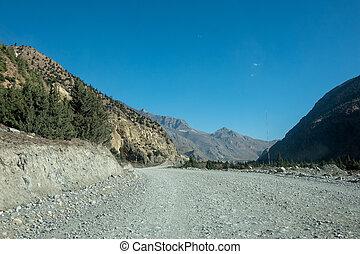 éloigné, route, terre, désert