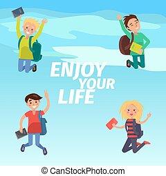 élvez, élet, diákok, poszter, ábra, -e