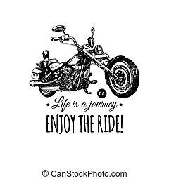 élvez, élet, poster., belélegzési, mc, lovagol, kéz, vektor, motorkerékpár, húsbárd, utazás, húzott, label., illustration.