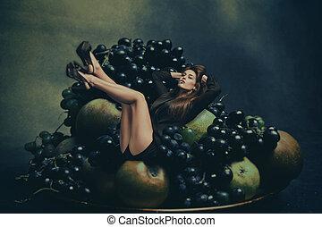 élvez, a, gyümölcs