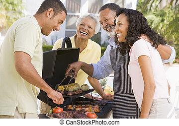 élvez, család, barbeque