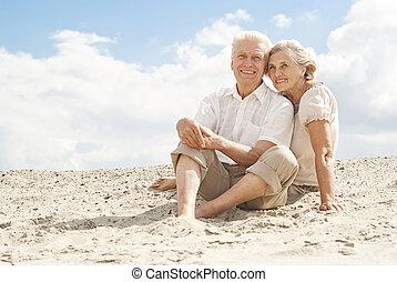 élvez, emberek, öregedő, szellő, bájos, tenger