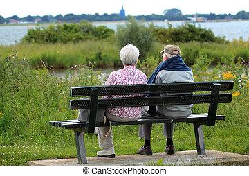 élvez, kilátás, két, öregedő emberek