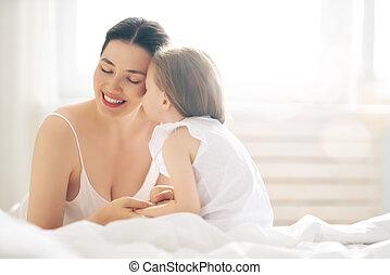 élvez, neki, napos, reggel, anya, leány