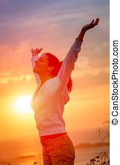 élvez, szabadság, és, élet, képben látható, napnyugta