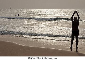élvez, tengerpart, ember