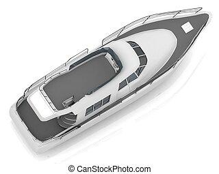 élvezet, átlósan, motorizált, csónakázik, elhelyezett