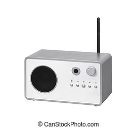 émetteur, moderne, isolé, radio, fond, blanc
