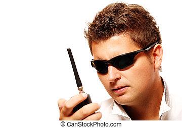 émetteur, sécurité, radio, jeune homme