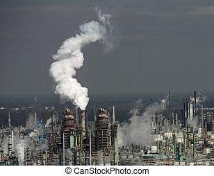 émettre, plante, usine, fumée, atmosphere.