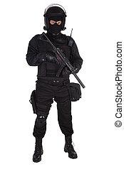émeute, noir uniforme, officier, police
