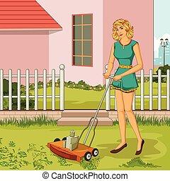 émondage, pelouse, femme, jardin, retro