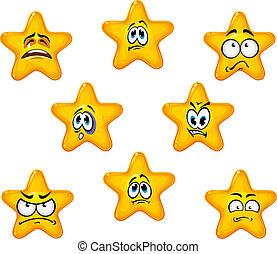 émotif, étoile, icônes