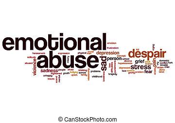 émotif, abus, mot, nuage