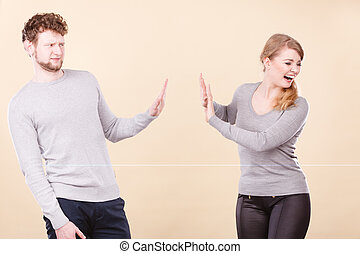 émotif, couple, arguing., jeune