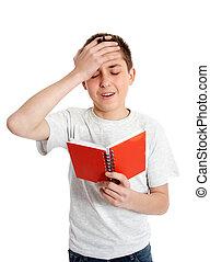 émotif, erreur, étudiant, désordre, gaffe
