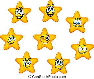 émotif, jaune, étoiles, faces