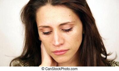 émotif, larmes, femme pleure