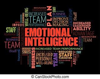 émotif, mot, nuage, intelligence