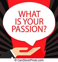 émotion, concept, bubble., texte, signe, paume, ton, controllable, quel, écriture, demander, parole, passion, sien, business, question., main, donation, fort, icône, sur, mot, barely, haut, couché, position