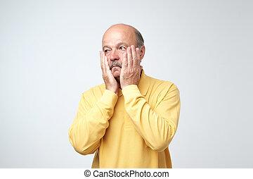 émotion, déprimé, business, fatigué, désordre, triste, négatif, inquiété, closeup, humain, portrait, expression faciale, man.