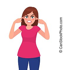 émotion, désagréable, femme, sien, girl, couverture, bouchons, bruyant, fâché, illustration, style., concept, vecteur, hands., humain, fingers., sons, noise., peur, dessin animé, oreilles