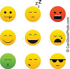 émotion, différent, collection, faces