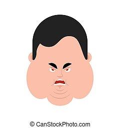 émotion, emoji., grand, fâché, graisse, figure, avatar., vecteur, illustration, corpulent, mal, type, homme, aggressive.